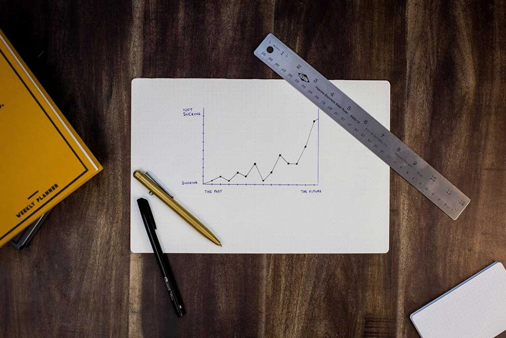 paper with increasing line chart